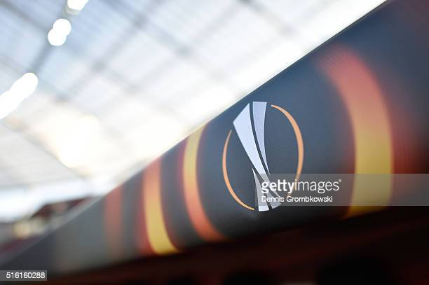The UEFA Europa League logo is displayed prior to the UEFA Europa League round of 16 second leg match between Bayer Leverkusen and Villarreal CF at...