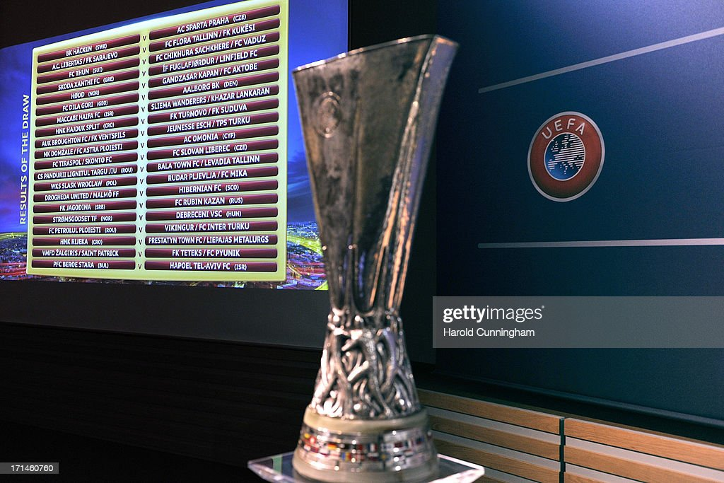 The UEFA Europa League qualifying round draw results are seen at the UEFA headquarters on June 24, 2013 in Nyon, Switzerland.