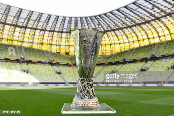 The UEFA Europa League Trophy ahead of the UEFA Europa League Final between Villarreal CF and Manchester United at Gdansk Arena on May 24, 2021 in...