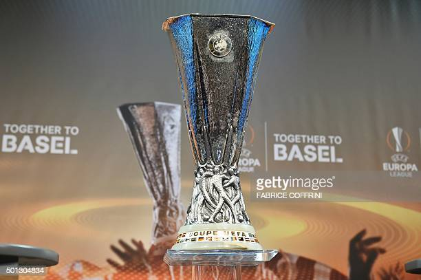 The UEFA Europa league trophy is displayed ahead of the draw for the UEFA Europa league round of sixteen on December 14 2015 at the European football...