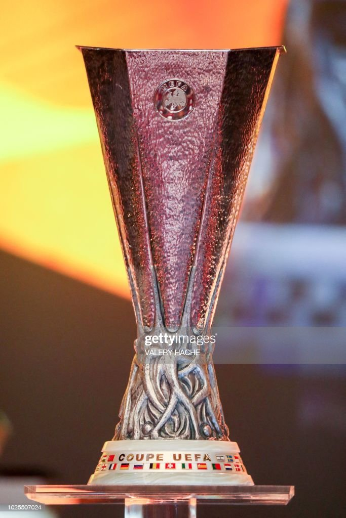 The UEFA Europa League Trophy Is Displayed During Draw For Football Tournament