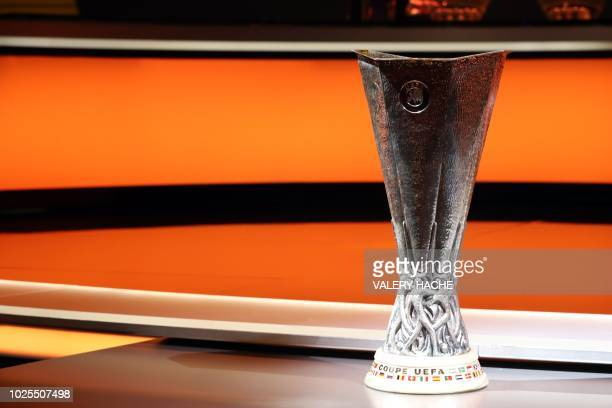 The UEFA Europa League Trophy is displayed during the draw for UEFA Europa League football tournament at The Grimaldi Forum in Monaco on August 31...