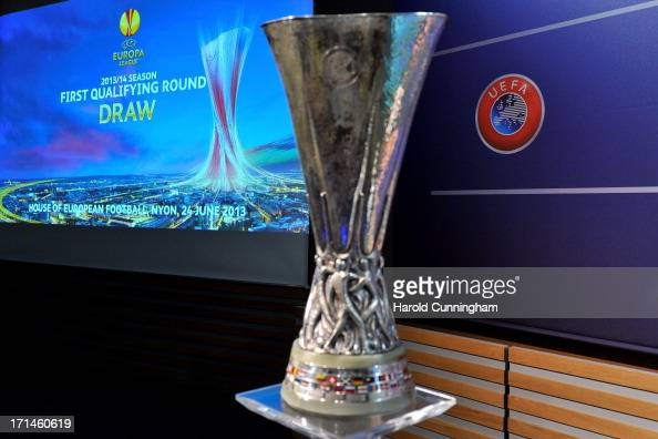The UEFA Europa League trophy is displayed in the draw ...