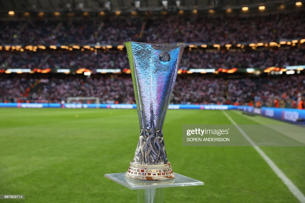 The UEFA Europa League trophy is displayed on the pitch prior to the UEFA Europa League final football match Ajax Amsterdam v Manchester United on May 24, 2017 at the Friends Arena in Solna outside Stockholm. /