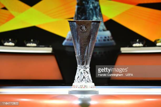 The UEFA Europa League trophy is displayed on the stage before the UEFA Europa League 2019/20 Group Stage Draw, part of the UEFA European Club...