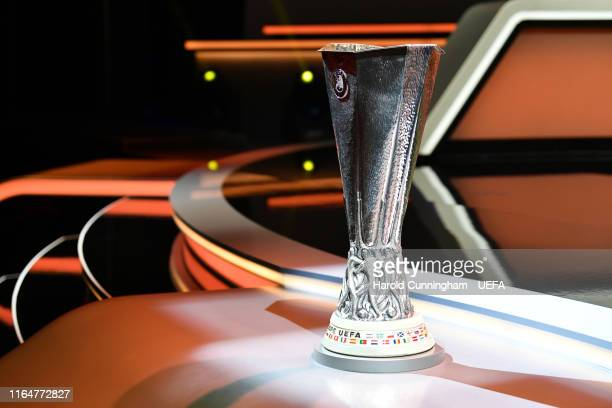 The UEFA Europa League trophy is displayed on the stage before the UEFA Europa League 2019/20 Group Stage Draw part of the UEFA European Club...