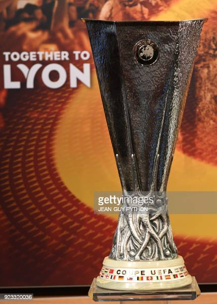 The UEFA Europa League trophy is pictured ahead of the draw for the round of 16 of the UEFA Europa League football tournament at the UEFA...