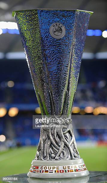 The UEFA Europa League trophy is pictured ahead the UEFA Europa League final match between Atletico Madrid and Fulham at HSH Nordbank Arena on May 12...