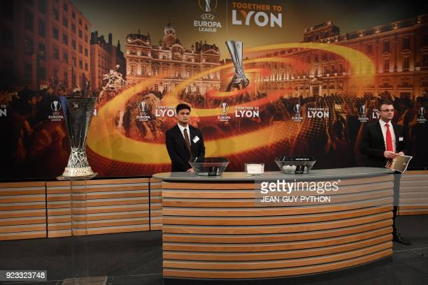 The UEFA Europa League trophy is pictured as officials wait ahead of the draw for the round of 16 of the UEFA Europa League football tournament at...