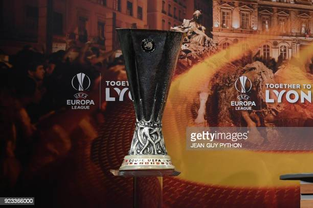The UEFA Europa League trophy is pictured during the draw for the round of 16 of the UEFA Europa League football tournament at the UEFA headquarters...