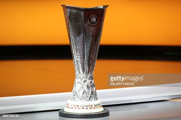The UEFA Europa League trophy is pictured during the UEFA Europa League group stage draw ceremony on August 26 in Monaco / AFP / VALERY HACHE