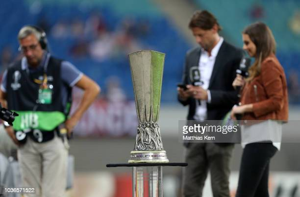 The UEFA Europa League trophy is pictured prior to the UEFA Europa League Group B match between RB Leipzig and FC Salzburg at Red Bull Arena on...