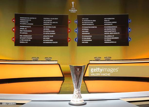 The UEFA Europa League trophy is seen in front of boards displaying the groups of European football teams during the UEFA Europa League group stage...