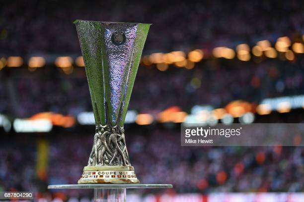 The UEFA Europa League trophy is seen inside the stadium prior too the UEFA Europa League Final between Ajax and Manchester United at Friends Arena...