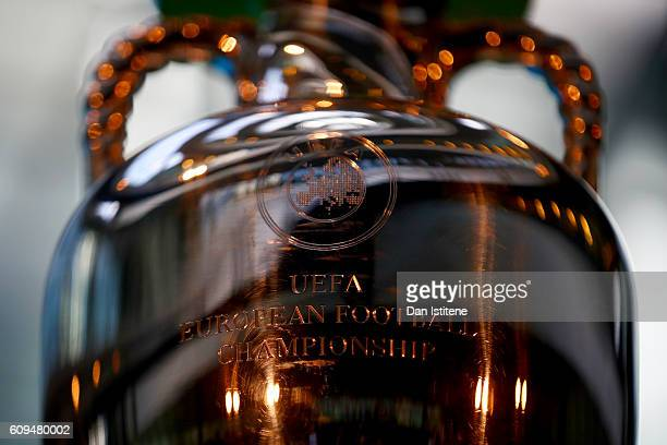 The UEFA European Championship trophy is displayed during the UEFA EURO 2020 launch event for London at City Hall on September 21, 2016 in London,...