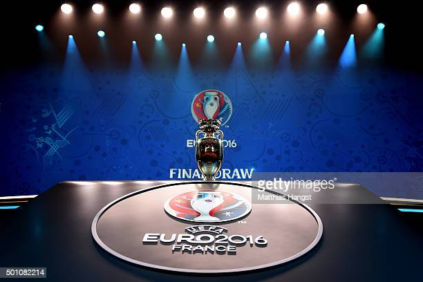 The UEFA European championship Trophy is displayed prior to the UEFA Euro 2016 Final Draw Ceremony at Palais des Congres on December 12 2015 in Paris...