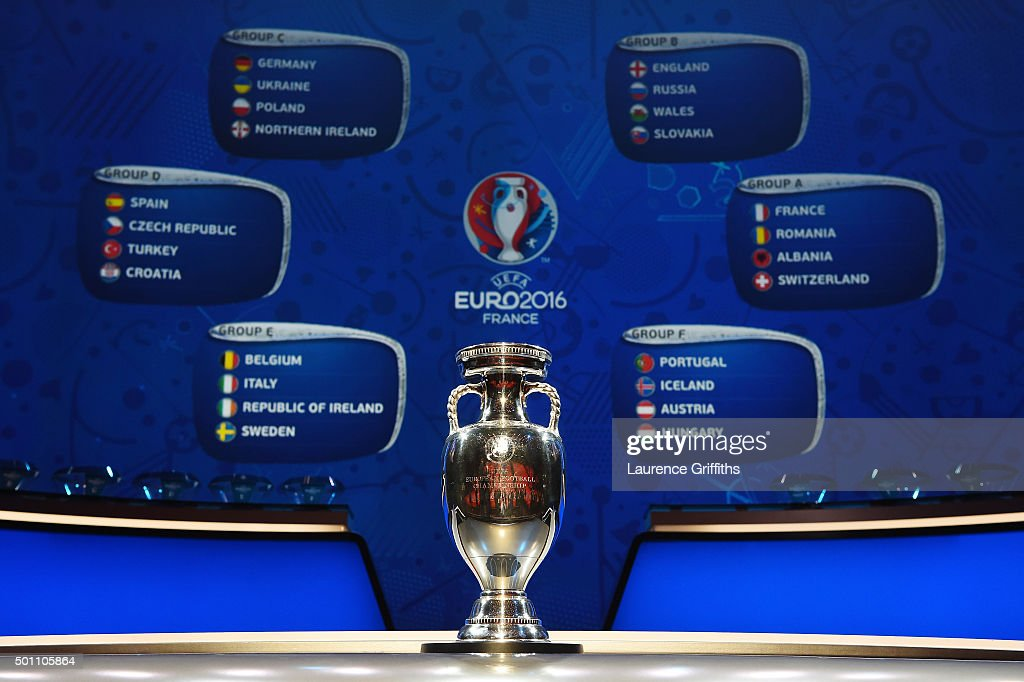 The UEFA European Championship trophy is displayed with the completed groups during the UEFA Euro 2016 Final Draw Ceremony at Palais des Congres on December 12, 2015 in Paris, France.