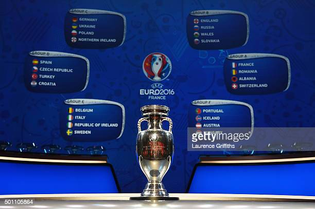The UEFA European Championship trophy is displayed with the completed groups during the UEFA Euro 2016 Final Draw Ceremony at Palais des Congres on...