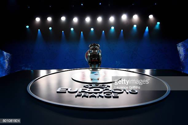 The UEFA European championships Trophy is displayed prior to the UEFA Euro 2016 Final Draw Ceremony at Palais des Congres on December 12 2015 in...