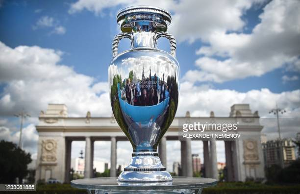 The UEFA European Football Championship trophy is pictured during a presentation at the Gorky Park in Moscow on May 24 ahead of the UEFA EURO 2020...