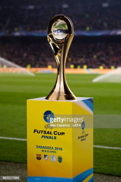 The UEFA Futsal Cup trophy is seen after the UEFA Futsal Cup Finals Zaragoza 2018 draw during the halftime of the UEFA Champions League Round of 16...