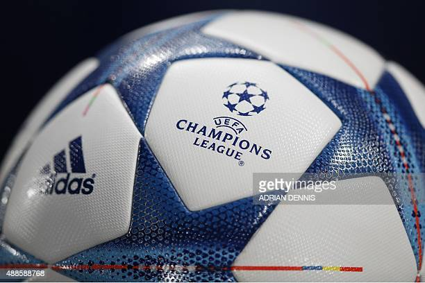 The UEFA logo is pictured on an official match ball ahead of the UEFA Champions League group G football match between Chelsea and Maccabi Tel Aviv at...