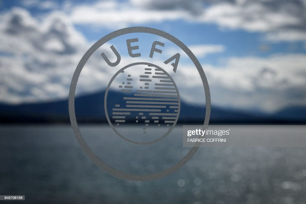 The Uefa Logo Is Seen During The Draw For The Semi Finals Round Of