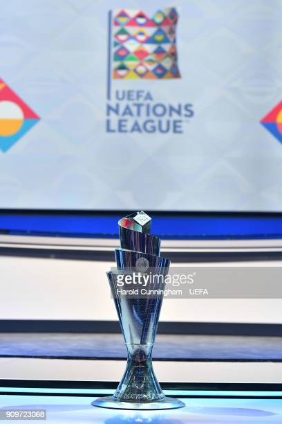 The UEFA Nations League Trophy after it was unveiled during the UEFA Nations League Draw on January 24 2018 in Lausanne Switzerland