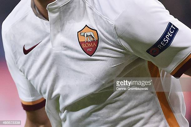 The UEFA RESPECT badge is seen on an AS Roma game shirt during the UEFA Champions League Group E match between Bayer 04 Leverkusen and AS Roma at...
