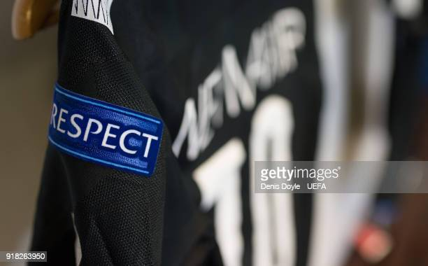 The UEFA respect badge is seen on Neymar's shirt in the Paris SaintGermain dressing room ahead of the UEFA Champions League Round of 16 First Leg...