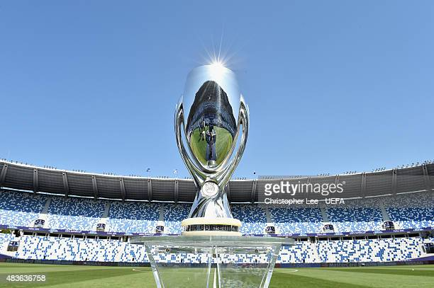 The UEFA Super Cup on display in the stadium during the UEFA Super Cup Final match between Barcelona and Sevilla FC at Dinamo Arena on August 11 2015...