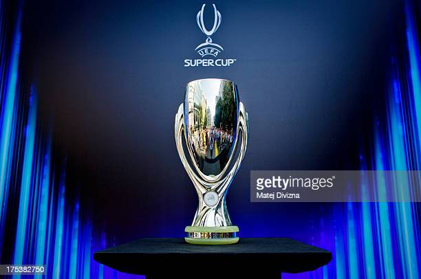 The UEFA Super Cup trophy is seen displayed during the UEFA Trophy Display Event on August 3, 2013 in Prague, Czech Republic.