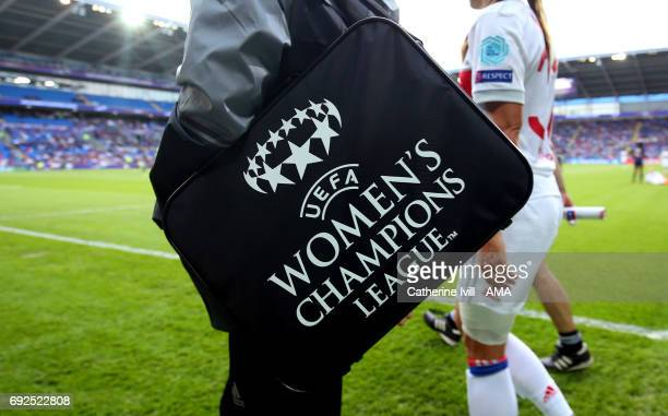 The UEFA Women's champions league logo on a bag during the UEFA Women's Champions League Final match between Lyon and Paris Saint Germain at Cardiff...