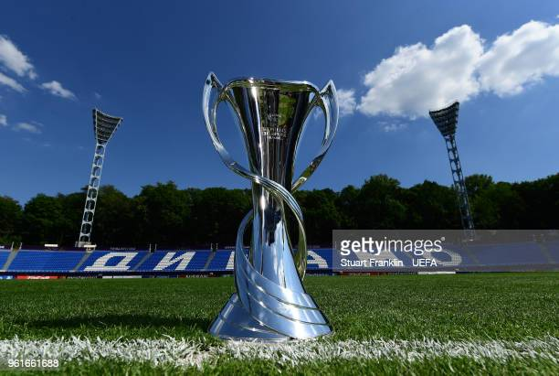 The UEFA Womens Champions League trophy is seen in the stadium prior to the UEFA Womens Champions League Final between VfL Wolfsburg and Olympique...