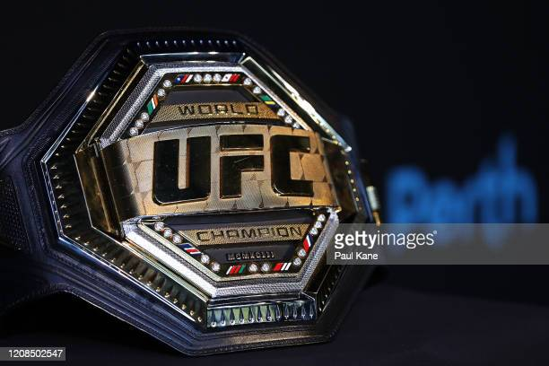 The UFC Featherweight Championship belt of Alex Volkanovski is pictured before a UFC press conference at RAC Arena on February 25, 2020 in Perth,...