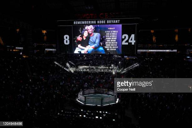 The UFC honors Kobe Bryant and other victims with a moment of silence during the UFC 247 event at Toyota Center on February 08, 2020 in Houston,...