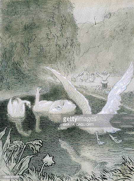 The Ugly Duckling illustration by Lorenz Frolich for the fairy tale by Hans Christian Andersen Odense Hans Christian Andersens Hus