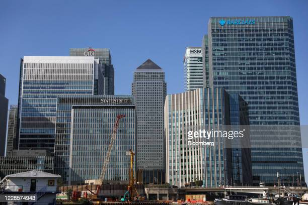 The UK headquarter office buildings of Citigroup Inc HSBC Holdings Plc and Barclays Plc stand in the Canary Wharf business financial and shopping...