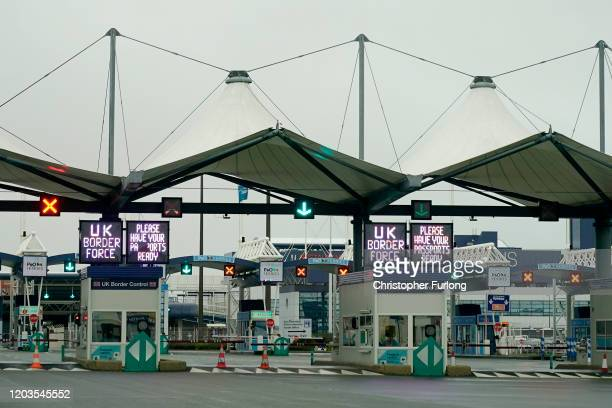 The UK passport and border control at the Calais Ferry terminal on February 02 2020 in Calais France The United Kingdom and Northern Ireland has...