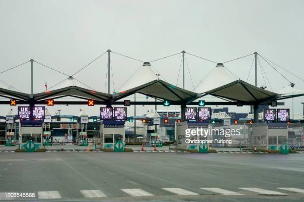 The UK passport and border control at the Calais Ferry terminal on February 02, 2020 in Calais, France. The United Kingdom and Northern Ireland has...