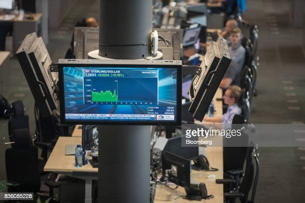 The UK sterling and US dollar currency rates sit displayed on a screen as traders monitor data on the RWE AG energy trading floor in Essen Germany on...