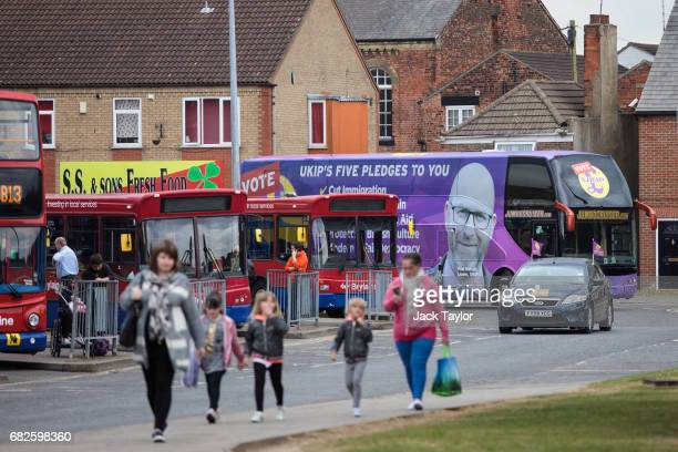 The UKIP campaign bus makes it way through the streets of Boston on May 12 2017 in Boston United Kingdom UKIP Leader Paul Nuttall has chosen to stand...