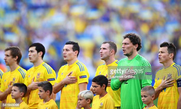 The Ukraine players sing their nationall anthem prior to the UEFA EURO 2016 Group C match between Ukraine and Poland at Stade Velodrome on June 21...