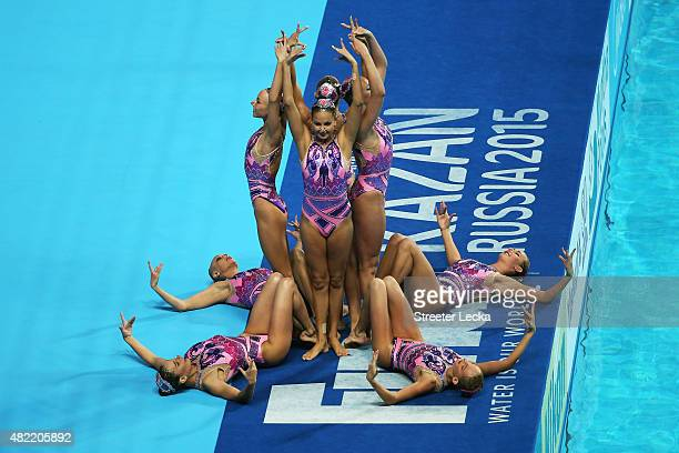 The Ukraine team competes in the Women's Team Free Synchronised Swimming Preliminary on day four of the 16th FINA World Championships at the Kazan...