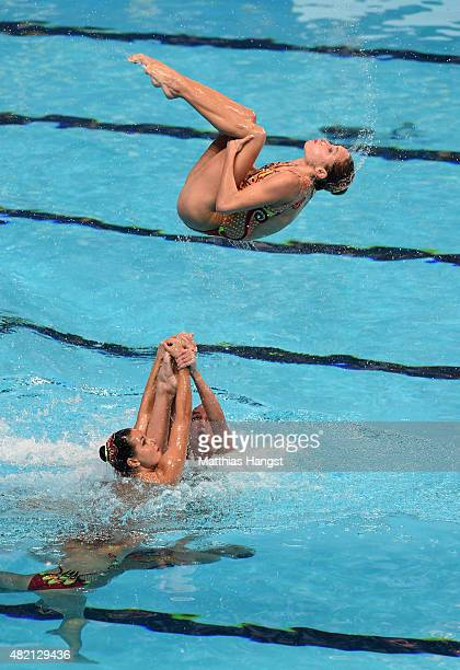 The Ukraine team competes in the Women's Team Technical Synchronised Swimming Final on day three of the 16th FINA World Championships at the Kazan...