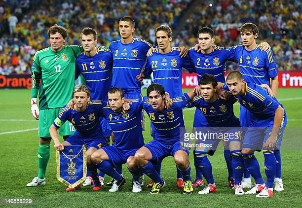 The Ukraine team line up during the UEFA EURO 2012 group D match between England and Ukraine at Donbass Arena on June 19 2012 in Donetsk Ukraine