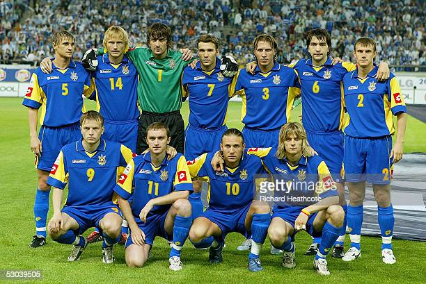 The Ukraine team pose for a team photo during the FIFA World Cup 2006 group 2 qualification match between Greece and Ukraine, held at the Georgios...