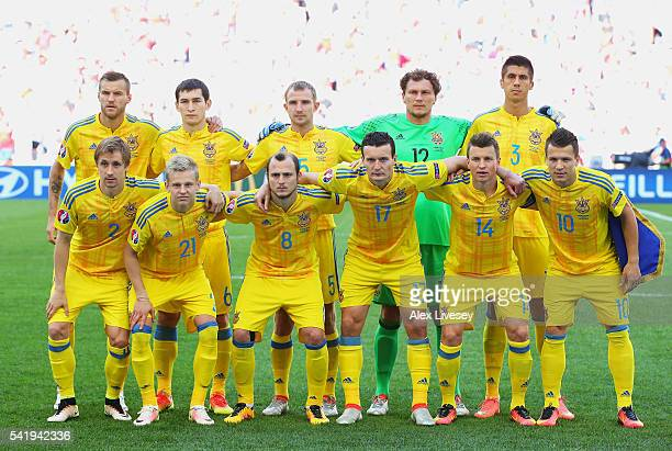 The Ukraine team pose for a team photo prior during the UEFA EURO 2016 Group C match between Ukraine and Poland at Stade Velodrome on June 21 2016 in...
