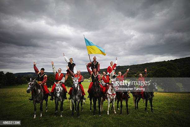 The Ukrainian Cossack Stunt team pose as they arrive at Chatsworth House on September 3, 2015 in Chatsworth, England. The Ukrainian Cossack Stunt...