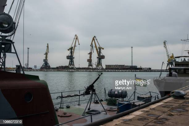 The Ukrainian sea border security force's armed vessels stand ready for combat at Mariupol Port on the Azov Sea on November 28 2018 in Mariupol...
